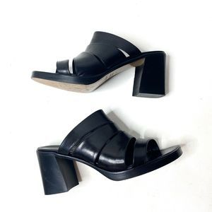 Paul Green Leather Strap Slip on Block Heel Sandal